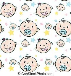 bebé, plano de fondo, seamless, estrellas, caras