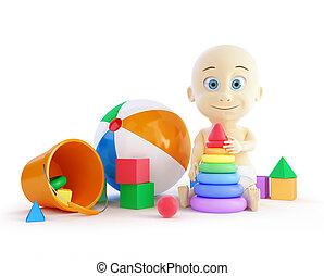 bebé, playa, pirámide, pelota, juguetes