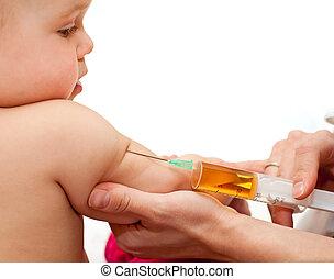 bebé, poco, inyección, conseguir
