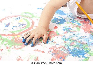 bebé, poco, juego, colorido