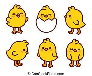 bebé pollo, lindo, caricatura, conjunto