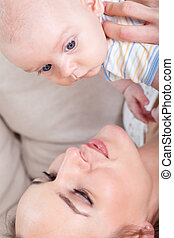 bebé, primer plano, amoroso, madre