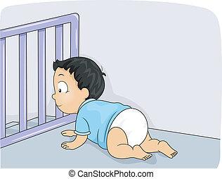 bebé, puerta
