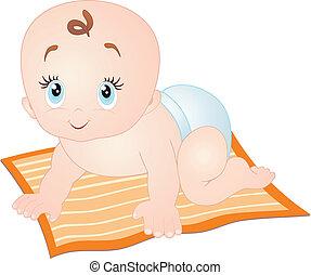 bebé que arrastra, aislado, blanco