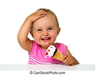 bebé que come, helado
