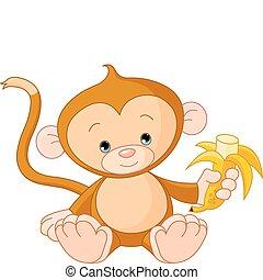 bebé que come, mono, plátano