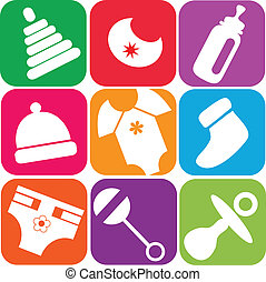 bebé recién nacido, iconos, de, juguetes, y, accesorios
