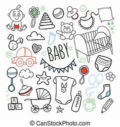 bebé recién nacido, mano, dibujado, garabato, con, juguetes,...