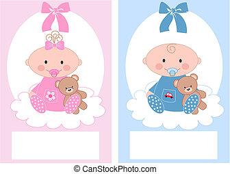 bebé recién nacido, niño, y, nena