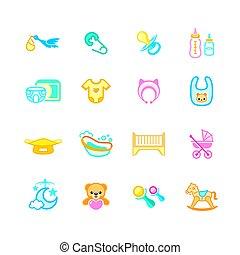 bebé recién nacido, objetos, iconos,  , micro, serie