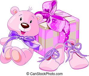 bebé, regalos, niña