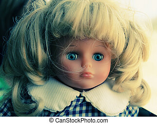 bebé, retrato, vendimia, muñeca
