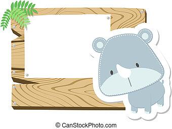bebé rinoceronte, tabla, señal