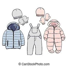 13036367f1e4 Niño, conjunto, mano, bebé, dibujado, ropa. Niño, conjunto, bosquejo ...