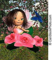 bebé, rosa, hada, con, jardín