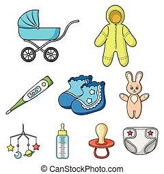 bebé, símbolo, vector, colección, grande, nacido, caricatura, style., iconos, conjunto, ilustración, acción