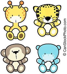bebé, selva, animales