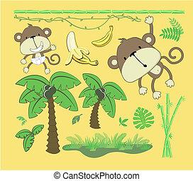 bebé, selva, caricatura, diseñe elementos