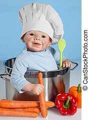 bebé, sombrero, chef, muñeca