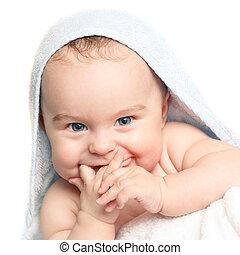 bebé, sonriente, lindo