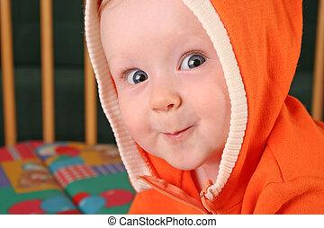 bebé, sonrisa, capucha, niño