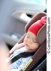 bebé, sueño, en coche, asiento