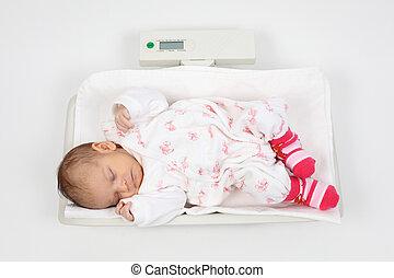bebé, sueño, escalas