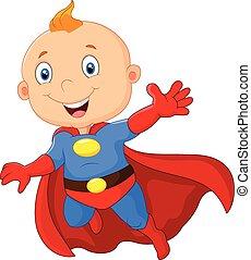 bebé, superhero, caricatura, lindo