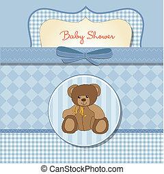 bebé, tarjeta, ducha, romántico