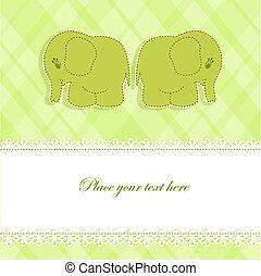 bebé, tarjeta, elefantes