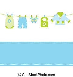 bebé, tarjeta, llegada