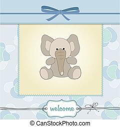 bebé, tarjeta, niño, delicado, ducha