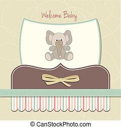 bebé, tarjeta, nuevo, elefante