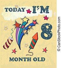 bebé, tarjeta, vector, 8, hito, o, niña, acuarela, texture., soy, boy., mes, hoy, old.