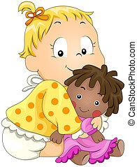 bebé, tenencia, muñeca