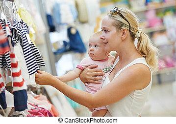 bebé, tienda, mujer