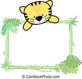 bebé, tigre, bambú, marco