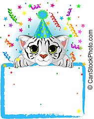 bebé, tigre blanco, cumpleaños