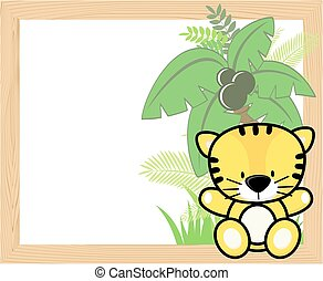 bebé, tigre, marco