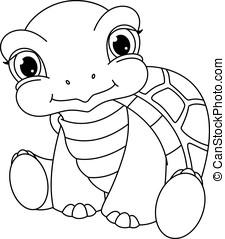 bebé, tortuga, colorido, página