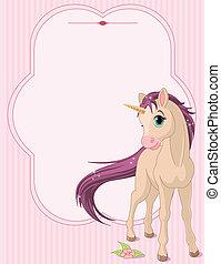 bebé, unicornio, tarjeta de lugar