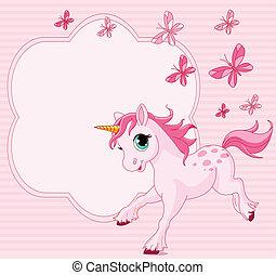 bebé, unicornio, tarjeta, lugar