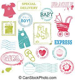 bebé, vector, colecciónde estampillas, en, color