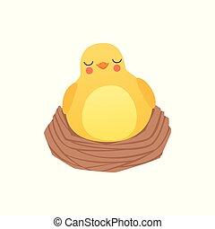 bebé, vector, divertido, pollo, sueño, lindo, nido, caricatura, pájaro, aislado, fondo blanco, ilustración, carácter
