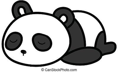 bebé, vector, panda, ilustración, sueño