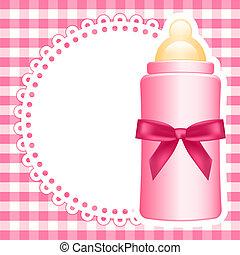 bebé, vector, plano de fondo, botella