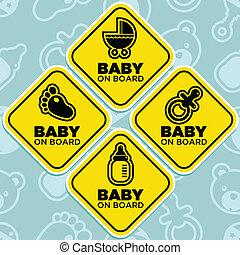 bebé, vector, tabla, señales