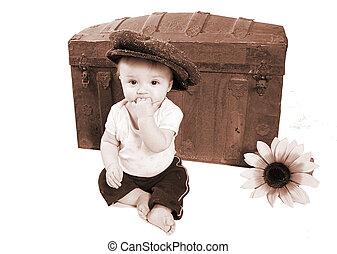 bebé, vendimia, adorable, foto