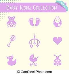 bebé, vendimia, colección, iconos