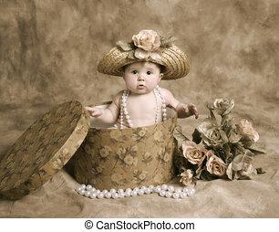 bebé, vendimia, niña, sombrerera